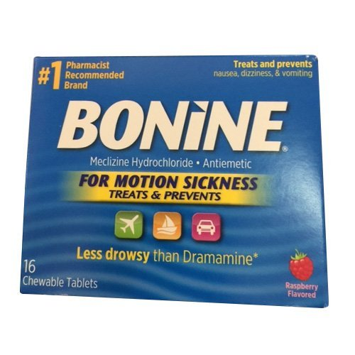 Bonine For Motion Sickness Chewable Tablets, Raspberry Flavored, 16 Tablets (3 (Raspberry Flavored Chewable Tablets)