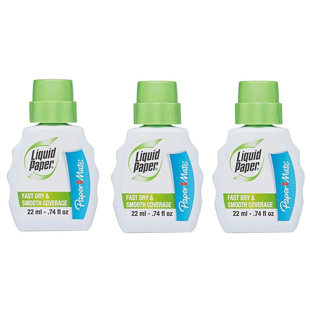 TableTop King 5643115 Liquid Paper Fast Dry Correction Fluid 22mL Bottle - 3/Pack