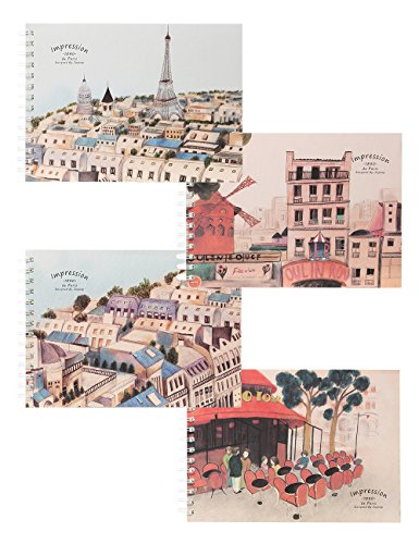 Impressions Book (What's Fun 4 Assorted Covers Art Sketch Book-A4 11.7''×8.3'' 100g 50 Sheets Pack of 4(Paris Impression))