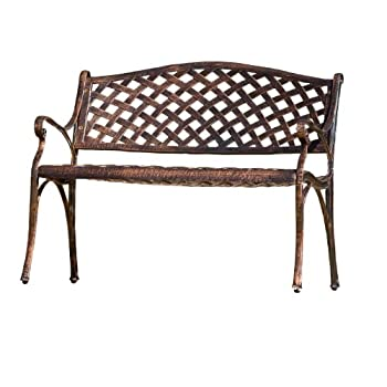 Best Selling Cozumel Cast Aluminum Bench, Antique Copper Finish