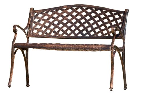 Best Selling Cozumel Cast Aluminum Bench, Antique Copper Finish (Curved Bench Backless)