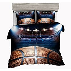 SxinHome Playoff 3D Basketball Bedding Set for Teen Boys, Duvet Cover Set,3pcs 1 Duvet Cover 2 Pillowcases(No Duvet&Comforter inside), Twin Size