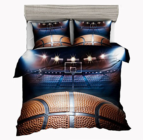 SxinHome Playoff 3D Basketball Bedding Set for Teen Boys, Duvet Cover Set,3pcs 1 Duvet Cover 2 Pillowcases(No Duvet&Comforter inside), Twin Size (Jordan Bedding)