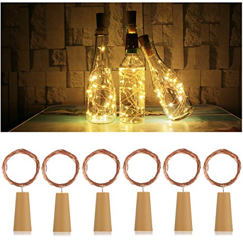AnSaw 20-LEDs 6 Pack Bottle Lights Pro Spark I Cork Shaped Battery Strip Light Décor Rope Lamp for Seasonal Decorative Christmas Holiday (Warm White)