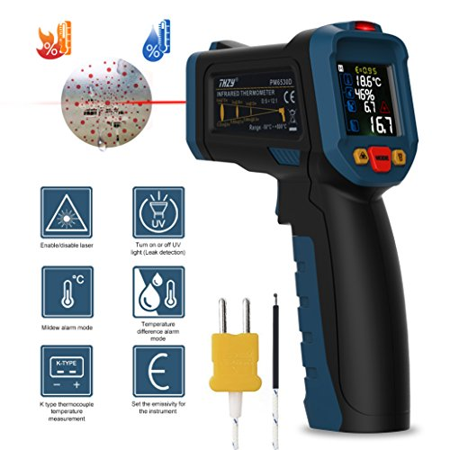 Laser thermometer, Infrared thermometer Digital Laser Thermometer Non Contact Kitchen Thermometer Temperature Gun Color Display With 12 Points Aperture Temperature Alarm Function for Kitchen Cooking by THZY