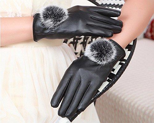 Generic Ladies_ women girls leather glove gloves _for_touch_screen_ autumn winter _warm_ winter _driving_riding_rabbit hair balls,_ glove gloves