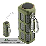Hapyia Outdoor Wireless Portable Bluetooth Speaker Waterproof, Pair 2 speakers for 3D Stereo Surround Sound [New Release] - One Speaker (Green)