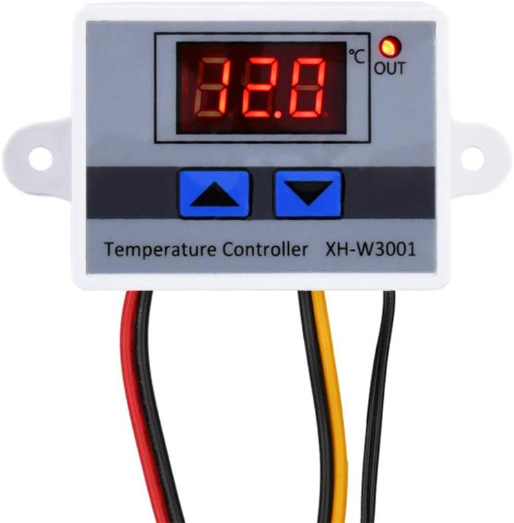 KeeYees Módulo Controlador de Temperatura LCD Digital - XH-W3001 Termostato de calefacción/enfriamiento con sonda impermeable DC 12V 10A