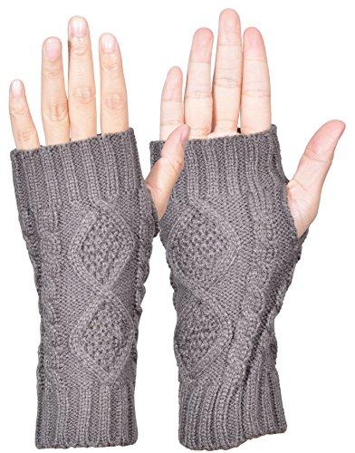 Outrip Womens Fingerless Gloves Winter Warm Knit Thumb Hole Mittens Arm Warmers (Dark Gray)