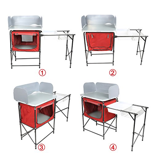 PORTAL Portable Camp Kitchen Table Deluxe Outdoor Cooking Picnic BBQ Grill Station with Storage Organizer, Windscreen and Sink Table