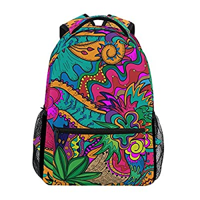 cheap LORVIES Hippie Drawing Likes As Stoner Art Casual Backpack School Bag Travel Daypack