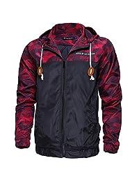 Allonly Men's Long Sleeve Floral Printed Hooded Windbreaker Jacket Sports Coat