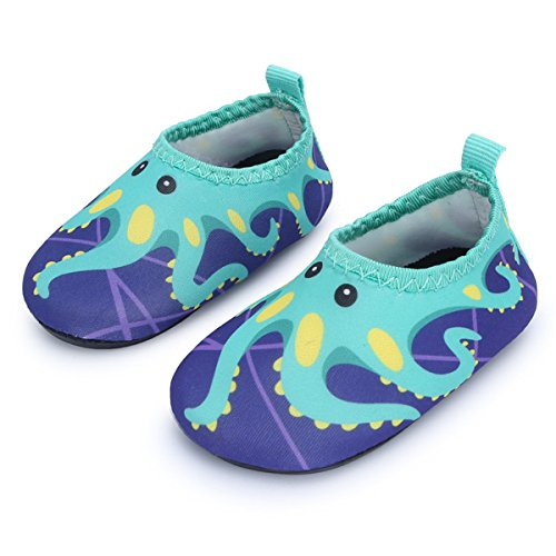 JIASUQI Summer Casual Skin Water Shoes Socks for Baby,Sand Swim Surf Aerobics,Green Octopus 18-24 ()