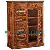 VK Furniture Sheesham Wood Shoe Rack for Home | Wooden Shoe Rack | 2 Drawer & 3 Shelves Cabinet Storage | Provincial Teak Finish