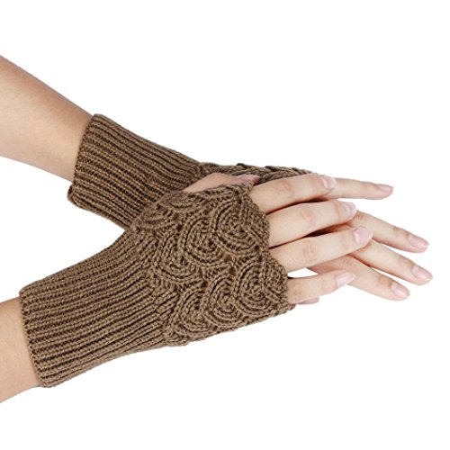 Soft Knitted Gloves,Hemlock Women's Hollow Out Lace Gloves Winter Warm Gloves (Khaki)