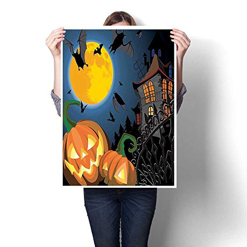 Canvas Wall Art for Bedroom Home Decorations,Collection Gothic Scene with Halloween Haunted House Party Theme Decor Trick or Treat Canvas,for Home Decoration No Frame,32