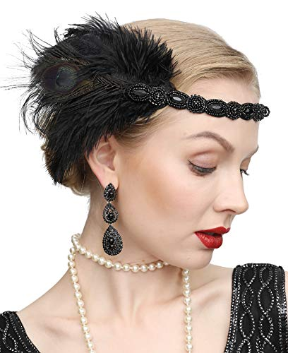 Roaring 20s Headpieces (1920s Gatsby Flapper Feather Headband 20s Accessories Roaring 20s Headpiece with Peacock Feather)