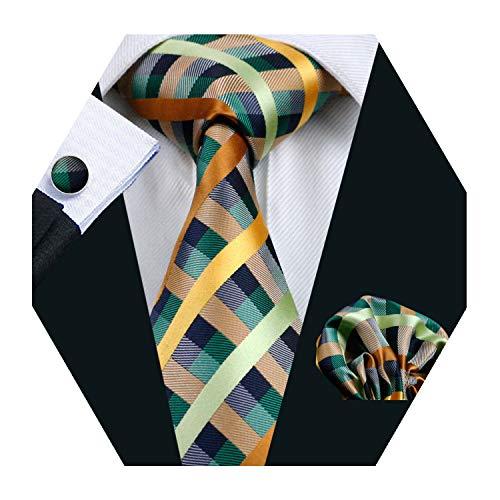 Mens Green Plaid Check Silk Tie Set Necktie with Hanky and Cufflinks Business Wedding