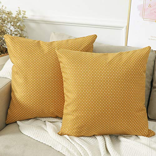 Madizz Pack of 2 Mid Century Modern Woven Linen Decorative Square Throw Pillow Covers Pack Cushion Cases 18x18 inch Mustard Yellow and White
