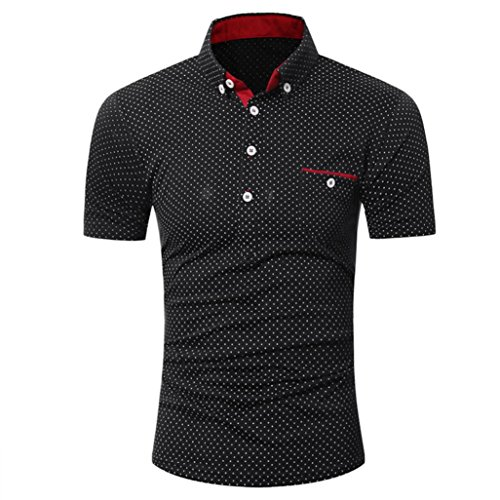 Leedford Hot Sale Mens Casual Short Sleeve Shirt Business Slim Shirt Dot Print Blouse Top (M, Black) by Leedford Men's Top