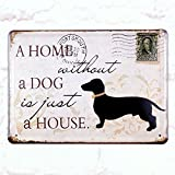 Metal Tin Sign Home Without Dog Retro Home Pub Bar Wall Decor Poster