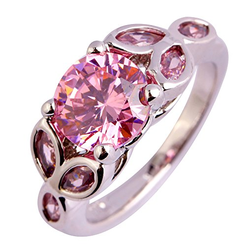 Narica Womens Simple Cute Round Cut Pink Topaz Cocktail Ring