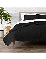Bare Home Premium 3 Piece Coverlet Set - Full/Queen Size - Diamond Stitched - Ultra-Soft Luxurious Lightweight All Season Bedspread (Full/Queen, Black)