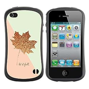 Paccase / Suave TPU GEL Caso Carcasa de Protección Funda para - Leaf Fall Canada Gold Pink Autumn - Apple Iphone 4 / 4S