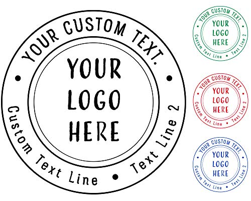 (5+ Designs to Choose! Business Logo Double Round Border Stamp - Round Stamp- Stamps Personalized Self Inking Custom Business Stamp Your Logo Black Blue Red Green Ink Stamper - Size 1 5/8 x 1 5/8.)