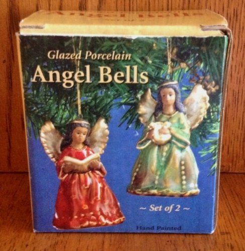 Giftco Glazed Porcelain African American Angel Bell Ornaments