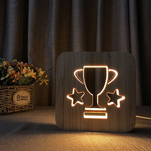 Creative 3D Cartoon Wooden Nightlight, LED Table Desk lamp USB Power Home Bedroom Decor Lamp, Gift for Adult Kids Girls Bedroom Living Room Nightstand (Trophy)