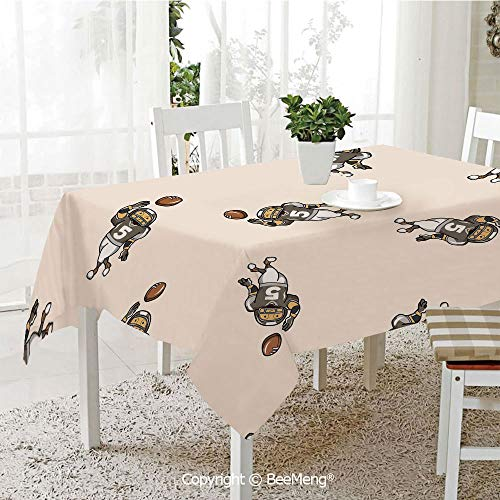 BeeMeng Large dustproof Waterproof Tablecloth,Family Table Decoration,Football,Pattern of Cartoon Player Running with The Ball Training for The Game Rugby Decorative,Taupe Brown White,70 x 104 -