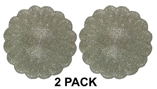 Accessories Range Dacor (Cotton Craft - 2 Pack Beaded Placemat Set - Scalloped Round Hand Beaded Charger Placemat - Silver - 14 Inches Round - Hand made by skilled artisans - A beautiful complement to your dinner table dÃcor)