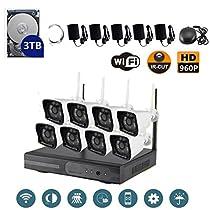 VOYAGEA 8CH 960P NVR wireless monitoring security system NVR Night Vision IP Surveillance Camera Kit waterproof camera 3TB hard disk Wireless Home Surveillance Security Camera A39