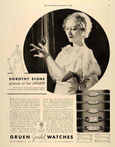 1934 Ad Gruen Wrist Watch Models Dorothy Stone Fred - Original Print Ad (Grün G)
