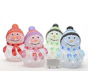 Set de 4Lumineo Indoor & Outdoor LED recargable de muñeco de nieve de color acrílico 24cm