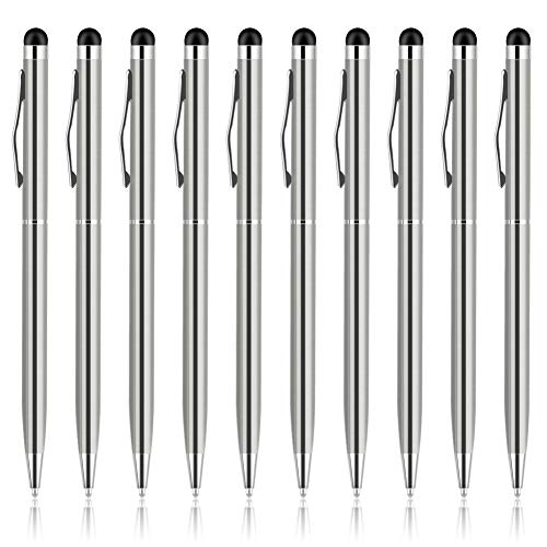 UROPHYLLA Stylus Pen, Stylus Pens for Touch Screens, 2 in 1 Capacitive Stylus Ballpoint Pen Stylus for iPad, Tablet, iPhone, Kindle, Samsung and Other Touch Screen Devices (Silver-10Pack)
