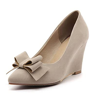 3dd6ea6393e8 Easemax Women s Elegant Faux Suede Bows Pointed Toe Low Top High Wedge Heel  Slip On Pumps