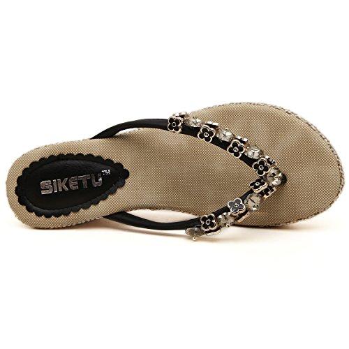 noir métal Sandales dqq femmes en Wedge perles de Tong Noir TxwvwzqI