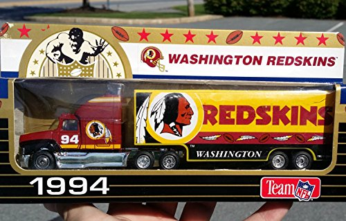 Matchbox Tractor Trailer - Matchbox 1994 WASHINGTON REDSKINS NFL FOOTBALL Tractor Trailer Truck in 1:87 Scale Diecast