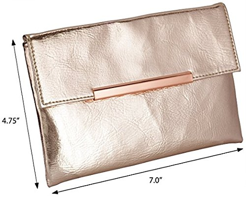 (Small Rose Gold Metallic Clutch Bag For Cosmetics, Makeup, Cellphone, Wallet, and Organization - Made of Premium Vegan Leather)
