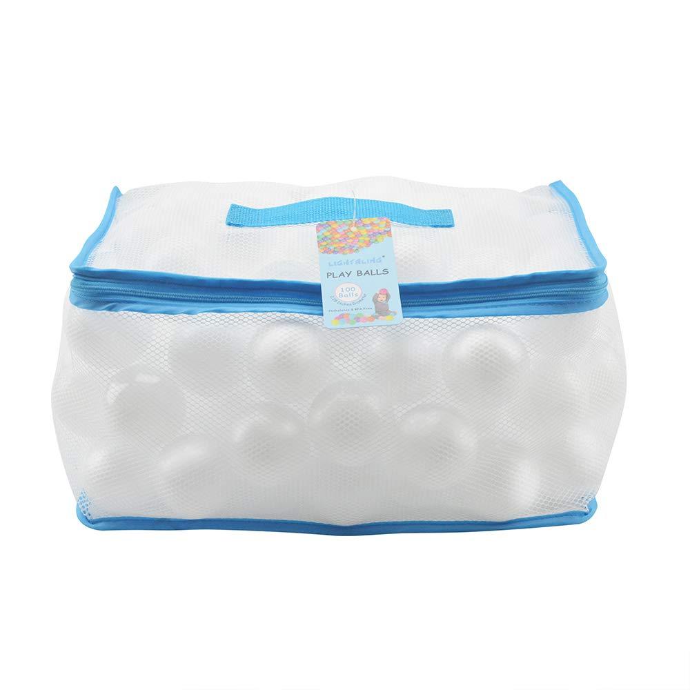 Lightaling 100pcs White Ocean Balls & Pit Balls Soft Plastic Phthalate & BPA Free Crush Proof - Reusable and Durable Storage Mesh Bag with Zipper