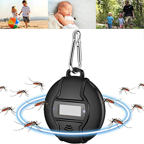 Solar Portable Ultrasonic Pest Repeller, Anti Mosquito Ultrasonic Pest Repeller with Solar or Micro USB Powered Pest Repellent Indoor and Outdoor for Children & Adults, Keeps Insects, Fleas, Bugs Away