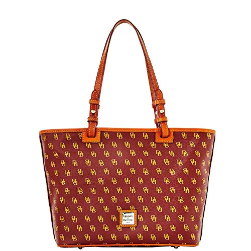 Dooney & Bourke DB Signature Small Leisure Shopper Tote Purse Shoulder Bag Leather Trim Handles (Bordeaux)