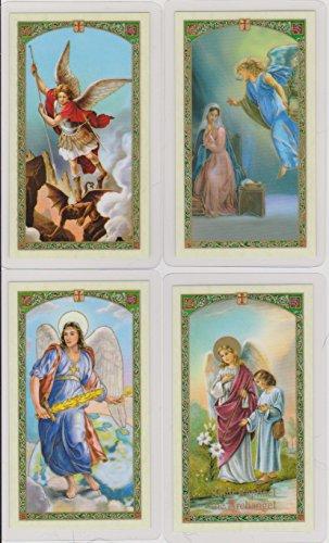 Saint Barachiel, Jehudiel, Gabriel, Michael, Raphael, Sealtiel and Uriel Set of 7 Archangels Holy Cards with Cross Bookmark