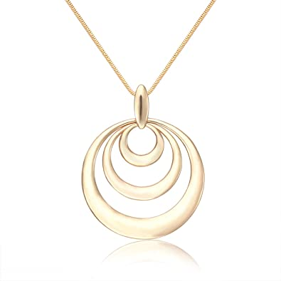 8721b2a15 Long Necklaces for Women Handmade Three Triple Circle Pendant Necklaces  Personalized 3 Generations Necklaces (Gold