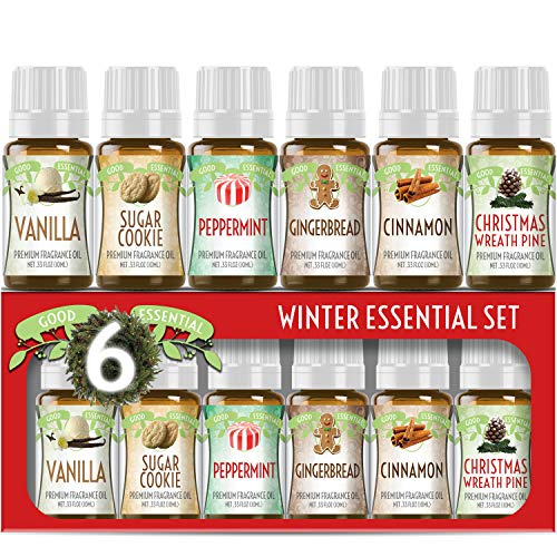 Winter Essential Oil Set of 6 Fragrance Oils - Christmas Wreath Pine, Vanilla, Peppermint, Cinnamon, Sugar Cookie, and Gingerbread by Good Essential Oils - 10ml Bottles (Fragrances Christmas)