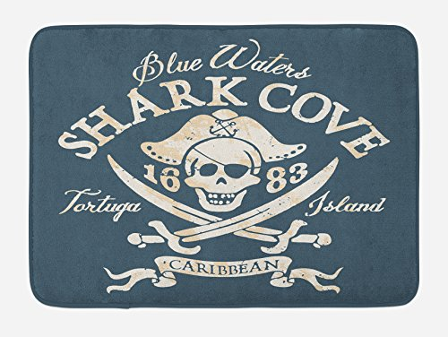 Lunarable Pirate Bath Mat, Shark Cove Tortuga Island Caribbean Waters Retro Jolly Roger, Plush Bathroom Decor Mat with Non Slip Backing, 29.5 W X 17.5 W Inches, Slate Blue White Pale Mustard ()