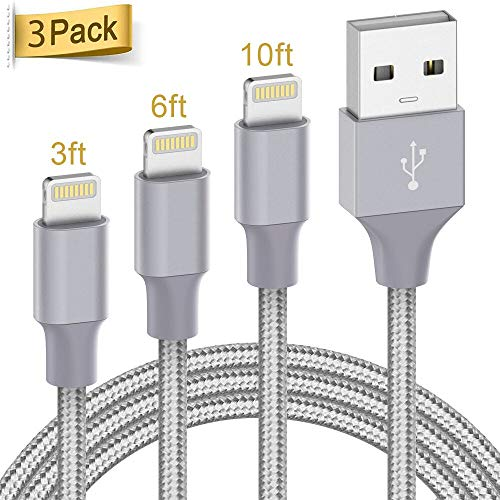 Lightning Cable Apple Certified - Quntis iPhone Charger 3Pack 3ft 6ft 10ft Nylon Braided USB Fast Charging Cord Compatible with iPhone 11 Pro X Xs Max XR 8 7 6 Plus iPad Pro Airpods and More, Gray