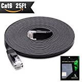 Cat 6 Ethernet Cable 25 ft (At a Cat5e Price but Higher Bandwidth) Cat6 Internet Network Cable - Flat Ethernet Patch Cable Short - Black Computer Lan Cable + Free Cable Clips and Straps